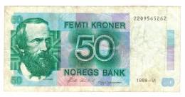 Norway 50 Kr. 1989, VF . Free Ship. To USA - Norway