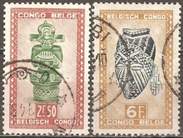 Congo Belge - 1948 - Figure De Musicien Sculptée Et Masque De La Tribu Ba-Kuba - YT 288 Et 291 Oblitérés - Congo Belge