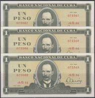 1980-BK-111  CUBA 1980. 1$. BANCO NACIONAL. JOSE MARTI. UNC. 3 CONSECUTIVOS. - Cuba
