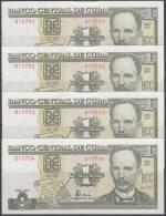 2003-BK-111  CUBA 2003. 1$. BANCO NACIONAL. JOSE MARTI. UNC. 4 CONSECUTIVOS. - Cuba