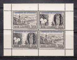 FRANCIA 1958 - CENTENARIO DE LAS APARICIONES DE LOURDES - 1858-1958 - BLOCK DE 4 VIÑETAS - Neufs