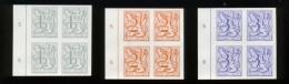 1902-04 X 4 En Bloc Bord De Feuille  Non Dentelés Petits Lions Banderolle - België