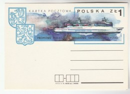 1974 POLAND SWINOUJCIE YSTAD FERRY Ship  Postal STATIONERY Card Cover Stamp Heraldic Lion - Ships