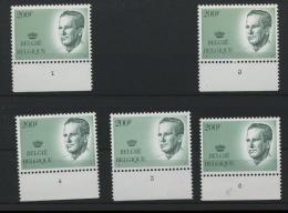 200F Roi  Numéros De Planches Différents, Au Prix De La Poste - 1981-1990 Velghe