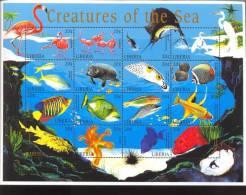 LIBERIA   1304  **  MINT NEVER HINGED MINI SHEET OF FISH-MARINE LIFE - Marine Life
