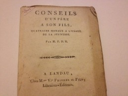 CONSEILS D'un PERE à SON FILS , Vers 1820, Quatrains Moraux A L'usage De La Jeunesse - Autres