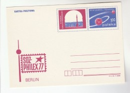 1977 POLAND Postal STATIONERY Card SOZ PHILEX, 20th ANNIV SPACE CONQUEST Cover Stamps
