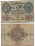 Alemania - Germany 20 Mark 1910 7 Nºs Pick 40.b Ref 32-4 - [ 2] 1871-1918 : Imperio Alemán