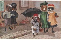 Illustrateur THIELE Chiens Humanidés Dans La Rue - Parapluie TB - Thiele, Arthur