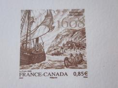 2008 ÉPREUVE GRAVURE France / Canada  Sur Feuillet Cartonné émis Imprimerie Timbre Poste De France - Documenten Van De Post