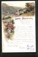 Lithographie Friedrichroda, Totalansicht - Friedrichroda