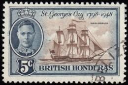 BRITISH HONDURAS - Scott #134 H.M.S. Merlin / Used Stamp - British Honduras (...-1970)