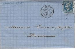 1863- Lettre De PARIS / R. St-DOMque-St-Gn,56   Affr. N°22 Oblit. étoile 20 - 1849-1876: Classic Period