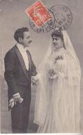 S- COUPLE DE MARIES CPA  CIRCULEE DE BILBAO EN ESPAGNE VOIR CACHET DE LA POSTE - Noces