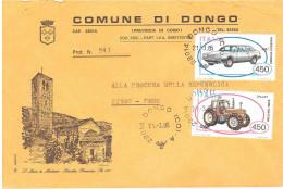 £450X2 COSTRUZIONI AUTOMOBILISTICHE ITALIANE BUSTA 2 PORTI COMUNE DI DONGO COMO - 1981-90: Storia Postale