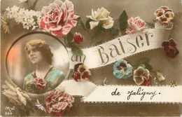 03 Jaligny Un Baiser Carte Fantaisie Ref 607 - Autres Communes