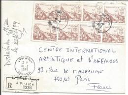 ALGERIE AFFRANCHISSEMENT COMPOSE SUR LETTRE RECOMANDEE DE SIDI AICH DE POUR LA FRANCE 1989 - Algérie (1962-...)