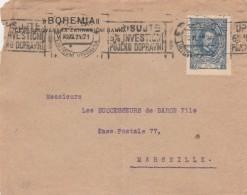 Tchécoslovaquie Sur Devant De Lettre Entête Bohemia Oblitération Cachet Flamme PRAHA 30//11/1921 Pour  Marseille - Tschechoslowakei/CSSR
