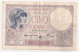 France 5 F Violet 1940 - 1871-1952 Circulated During XXth