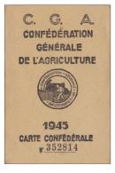 PR- VEDRINES SAINT LOUP  DANS LE CANTAL CARTE CONFEDERALE DE L'AGRICULTURE DE 1945 - Francia