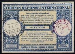 COLOMBIA / COLOMBIE London Type XVIu  35 CENTAVOS  Intern. Reply Coupon Reponse IAS IRC O BOGOTA 16.5.57 / Redeemed USA - Kolumbien
