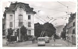 CERNIER VAL-DE-RUZ. TROLLEYBUS ELECTRIQUE. FILOBUS. 9x14 VG 1954 - NE Neuchâtel