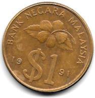 *malaysia 1 Ringgit 1991  Km 54  XF+ - Malaysie