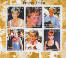 Turkmenistan  2000  Princess Diana  Famous Ladies  Royalty  6v  S/S  # 92236