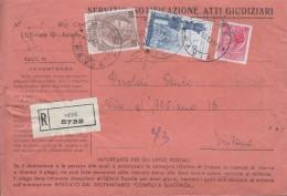 MEDE Pavia 1958 - RACCOMANDATA ATTI GIUDIZIARI - LOURDES LIRE 60  + SIRACUSANA - SX401 - 1946-60: Marcophilia