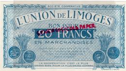 87 - LIMOGES - BON POUR 20 FRANCS L' UNION DE LIMOGES - COOP 14 RUE DE LA FONDERIE - France