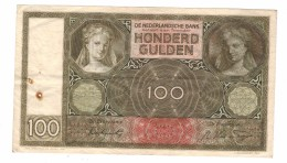 Lowered!!!! Netherlands , 100 Gulden 1942. Pin Holes, But Crisp VF! . Free Ship. To USA - [2] 1815-… : Royaume Des Pays-Bas