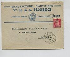 Env. à En-tête Manufacture D'Artifices Alger Affranchie 3F Gandon Surchargé Algérie Pour La France - Algérie (1924-1962)