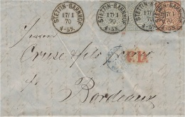 1870- Letter  From STETTIN-BAHNHOF To Bordeaux - Fr. 5  Groschen