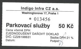 Prague, Czech Republic, Parking Receipt. - Tickets - Vouchers