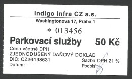 Prague, Czech Republic, Parking Receipt. - Tickets D'entrée