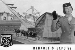 Renault Expo 1958 à Bruxelles. Avec Hotesse D'accueil Renault. Atomium. - Postcards