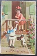 LITHO Chromo Illustrateur NOVOLITO Fille Fillette Balcon Et Garcon Offre Fleurs Petit Chien Jack Ecrite Pour 1934 - Angels