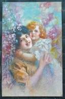 LITHO Chromo Illustrateur ART NOUVEAU GUERZONI FEMME MERE PORTANT Fille Fillette DECOR FLEURS LILAS ECRITE 1920 - Guerinoni