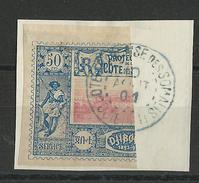 COTE DES SOMALIS - YVERT N°15a - 1/2 TIMBRE OBLITERE SUR FRAGMENT - COTE = 350 EURO - - Côte Française Des Somalis (1894-1967)