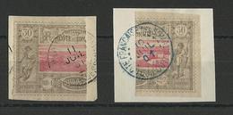COTE DES SOMALIS - YVERT N°13a - 1/2 TIMBRE PARTIE DROITE + GAUCHE OBLITERES SUR FRAGMENT - COTE = 180 EURO - - Côte Française Des Somalis (1894-1967)