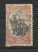 "COTE DES SOMALIS - YVERT N°64 VARIETE ""PLI ACCORDEON"" ANGLE BAS DROITE - OBLITERE - - Côte Française Des Somalis (1894-1967)"
