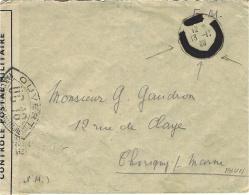 1939- Enveloppe En F M   Avec Cad Caviardé - Censure U C 18  De Melun - Marcophilie (Lettres)