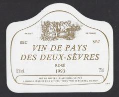 Etiquette De Vin De Pays  Des Deux Sèvres 1993  -  Domaine De La Gachère  -  Lemoine  à  Saint Pierre A Champ    (79) - Unclassified