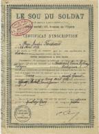 « LE SOU DU SOLDAT »  SYNDICALISME MOUVEMENT OUVRIER  MILITANTS SERVICE  MILITAIRE BARBEZIEUX  1904 B.E.V.SCANS+ HIST. - Documents Historiques