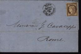 Cérès Ceres Etranger Rôme Seul Sur Lettre YT 56 - Marcophilie (Lettres)