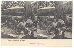Cpa Nice - Marchandes De Fleurs ( Carte Stéréo / Eld  )  ((S.260)) - Marchés, Fêtes