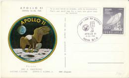 Yugoslavia Apollo XI Mission Illustrated Special Card & Postmark 1969 Bb161011