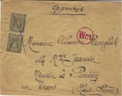 1920 - Enveloppe Affr. Paire N° 164 ( Y  & T ) Oblit.  Croix  + Marque De Censure Pour La France - 1919-1939 Republic