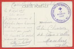 """Sur CP MENTON - Cachet """" Hopitaux Emile REYMOND & Victoria - 1915 - 3 Scans - Hopital Militaire - Poststempel (Briefe)"""