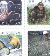 Bloc 4 Stamps CANADA -ogopogo-werewolf-sasquatch-kraken- 1990